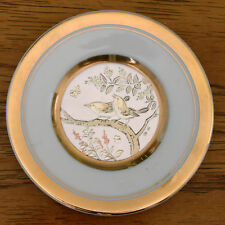 "The Art of Chokin 4"" Birds on Branch with Flowers Plate 24n KT Gold Edged Japan"