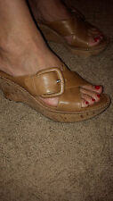 Mint SOFFT~ BALERIE Cork Wedge Leather Sandals Heels Strappy Buckle Bone/Tan 7.5