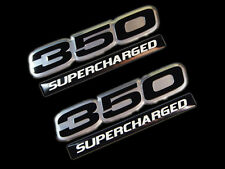 VMS 2 CHEVY SUPERCHARGED 350 CUBIC INCH ENGINE ALUMINUM EMBLEMS BLACK CHROME SBC