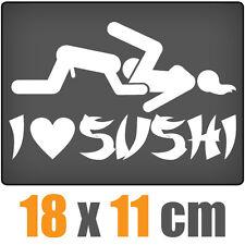 I Love Sushi 18 x 11 cm JDM Decal Sticker Auto Car Weiß Scheibenaufkleber