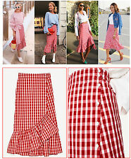 ZARA - GINGHAM CHECKED RUFFLE MIDI SKIRT WITH BUTTONS - LARGE UK 14 - BNWT