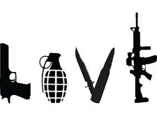 LOVE WEAPONS GUN Vinyl Decal Home Art Decor Lettering Words