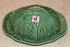 BORDALLO PINHEIRO GREEN CABBAGE OVAL DOME LIDDED BUTTER DISH PLATE NEW PORTUGAL