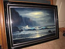 "*DELMARY* Original Oil Painting Hawaii Seascape 23""x36"" Large!"