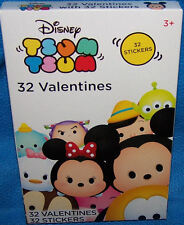 Valentines Day Cards (Box of 32) Disney Tsum Tsum with Stickers