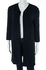 Cushnie Et Ochs Black Nylon Long Sleeve Open Front Dress Coat Size Small