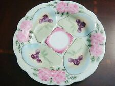 Antique Majolica Oyster Plate 19th century, pink with purple flowers [2-3]
