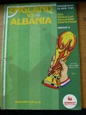 26/04/1989 England v Albania [At Wembley] . Item In very good condition unless p