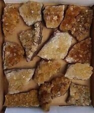 Gold Citrine Druze Uruguay Geode  rough cluster Crystal  Lot A0115 (13.5 oz)