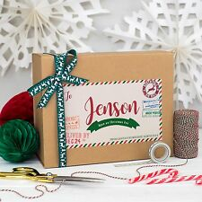PERSONALISED CHRISTMAS EVE BOX | NORTH POLE PARCEL | KRAFT MAGNETIC LID GIFT