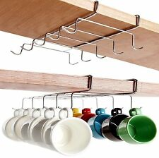 10 Hook Chrome Silver Under Shelf Cabinet Rack Mug Tea Cup Holder Storage Hook