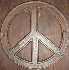 Hippy 60's and 70's Cast Iron Rustic style Peace Sign wall and project decor.