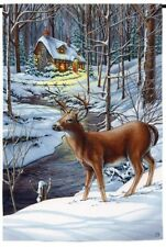 """Deer in Snow by the Creek Cottage Winter Snow Scene Small Banner Flag 12.5""""x18"""""""