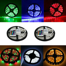 Car 12V 5M 300 LED 3528 SMD RGB Flexible Waterproof Strip Light Lamp+24 Key IR