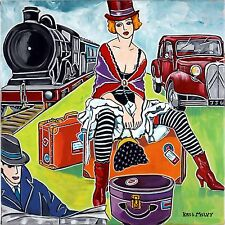 "Tableau Art Deco PIN-UP DANSEUSE TRAIN AUTO CIRCUS ""Voyage burlesque"" KRIS MILVY"