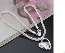 Women's 925 Sterling Silver Chain Inlaid Stone Heart Necklace Pendant Jewellery