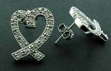 STERLING SILVER 15MM HEART RIBBON BOW WHITE CUBIC ZIRCONIA CZ STUD HOOP EARRINGS