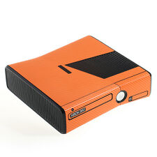 Trama ORANGE IN FIBRA DI CARBONIO effetto XBOX 360 SLIM Decalcomania Adesivo SKIN COVER Wrap
