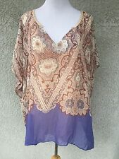 MAEVE ANTHROPOLOGIE XL Kimono Sleeve Blouse Top V-Neck Purple Silk