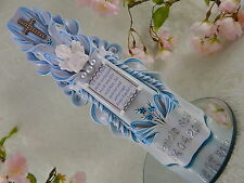 Taufkerze mit Taufspruch oder Foto Name und Datum Schutzengel  Junge Blau TKG137