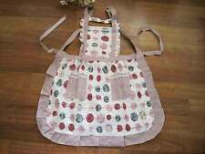Pretty Color Ball Gingham Patch Crochet Lace Frill Pocket Cotton Apron