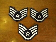 Lot of 3 US Air Force Sergeant Patches Iron On Patches