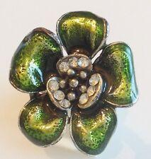 bague imposante couleur argent fleur émail vert cristaux réglable 283