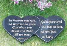 PERSONALISED GRANITE MEMORIAL PLAQUE HEADSTONE DOUBLE HEART SHAPE