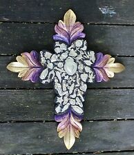 Carved Wooden Cross, Gold & Purple Milagros Mexican Folk Art Michoacán Hand Made