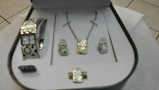 Femina costume jewelry set/watch, necklace, expand ring earrings  silver & white
