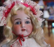 """Gorgeous Face 19"""" Antique Doll  - Blue Eyes - Blond hair - Leather body - dep."""