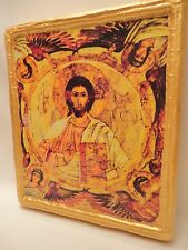 Jesus Christ Archangels Coptic Eastern Orthodox Icon on Aged Wood 2.5 cm Thick