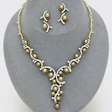Gold faux pearl necklace set sparkly vine diamante bridal prom jewellery 0497