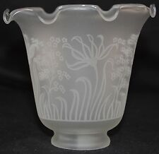 FROSTED SATIN ETCHED GLASS  FIXTURE LAMP SHADE Flowers Ruffle Top! Fits 2 1/4""