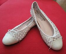 Paul Mayer Attitudes Brandy White Perforated Leather Ballet Flats Size 7 - Spain