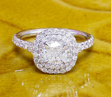 18K WHITE GOLD CUSHION DIAMOND ENGAGEMENT RING SOLESTE STYLE 1.60CT H-VS2 EGL US