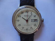IMPEX MEN'S WATCH MANUAL WIND Up RED DATE RED SECOND HAND V.G.CONDITION RUNS!