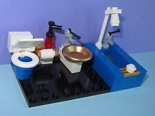 LEGO Custom Black Tiled Bathroom Toilet Shower Sink Miniature Mini Doll House