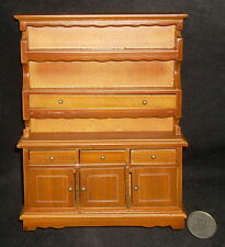 Kitchen Dining Hutch Bureau Cabinet #T6114 1:12 Walnut Dollhouse Miniature