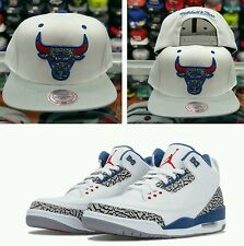 Matching Mitchell & Ness NBA Chicago Bulls snapback hat for Jordan 3 True Blue
