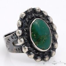 Antique C. 1920 Sterling Silver Native Pawn Navajo Carico Turquoise Ring Sz 7.5