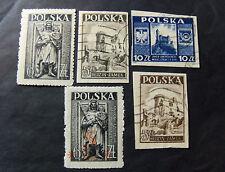 """POLONIA,POLAND,POLSKA,1946-47 """" Architettura"""" 5V. 2cpl set 4a +1V. OVP MH/USED"""