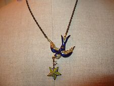 NWT Auth Betsey Johnson In The Navy Descending Bird w/Star Nautical Necklace