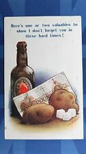 WW1 Bamforth Comic Postcard 1917 BASS BEER Bottle £1 ONE POUND NOTE Rationing