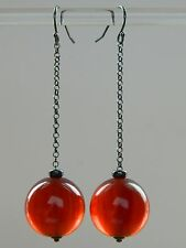 Art Deco Marbled Red Amber BAKELITE (tested beads), Oxidised 925 Silver Earrings