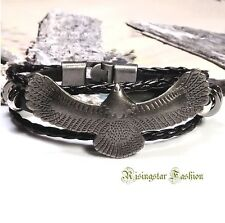 Men Trendy Soaring Eagle Surfer Biker Leather Fashion Hip Bracelet Wristband