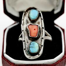 Vintage Sterling Silver Native Pawn Indian Navajo Coral Turquoise Ring Sz 7
