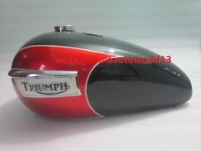 TRIUMPH T140 BLACK & CHERRY PAINTED PETROL TANK (Repro) WITH BADGES WITH CAP+TAP
