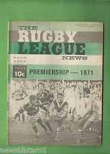 #QQ. THE RUGBY LEAGUE NEWS, 10-11th July 1971, St. George vs Manly Cover
