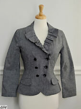TOPSHOP black & white DOGTOOTH fitted 1940's 50's DOUBLE BREASTED jacket suit 14
